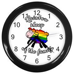Rainbow Sheep Wall Clocks (black) by Valentinaart