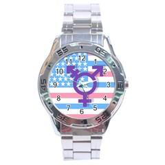 Transgender Flag Stainless Steel Analogue Watch by Valentinaart
