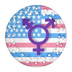 Transgender Flag Ornament (round Filigree) by Valentinaart