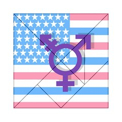 Transgender Flag Acrylic Tangram Puzzle (6  X 6 ) by Valentinaart