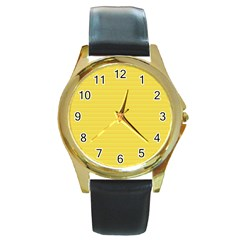 Lines Pattern Round Gold Metal Watch
