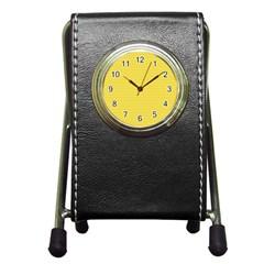 Lines Pattern Pen Holder Desk Clocks by Valentinaart
