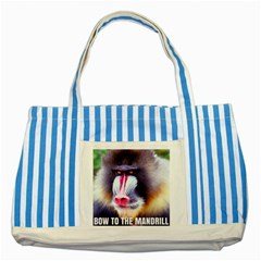 Bow To The Mandrill Striped Blue Tote Bag by RakeClag