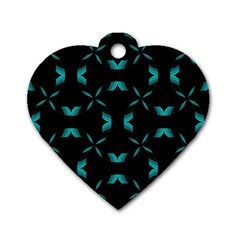 Background Black Blue Polkadot Dog Tag Heart (two Sides) by Mariart