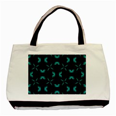 Background Black Blue Polkadot Basic Tote Bag (two Sides) by Mariart