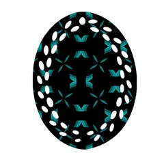 Background Black Blue Polkadot Oval Filigree Ornament (two Sides) by Mariart