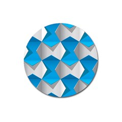Blue White Grey Chevron Magnet 3  (round) by Mariart
