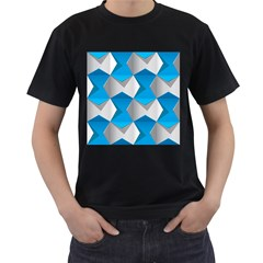 Blue White Grey Chevron Men s T-Shirt (Black) (Two Sided) by Mariart