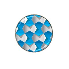 Blue White Grey Chevron Hat Clip Ball Marker by Mariart