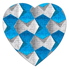 Blue White Grey Chevron Jigsaw Puzzle (heart) by Mariart