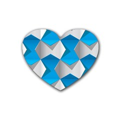 Blue White Grey Chevron Heart Coaster (4 Pack)  by Mariart