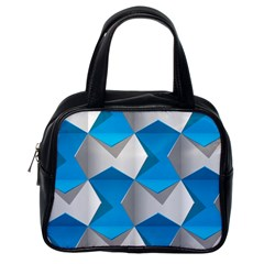 Blue White Grey Chevron Classic Handbags (One Side) by Mariart