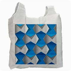Blue White Grey Chevron Recycle Bag (one Side) by Mariart