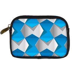 Blue White Grey Chevron Digital Camera Cases by Mariart