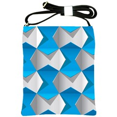 Blue White Grey Chevron Shoulder Sling Bags by Mariart