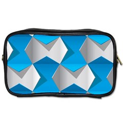 Blue White Grey Chevron Toiletries Bags 2 Side by Mariart