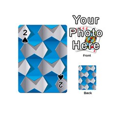 Blue White Grey Chevron Playing Cards 54 (mini)  by Mariart