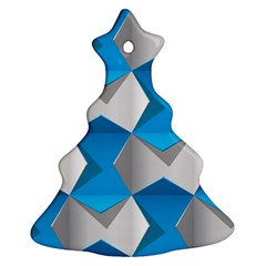 Blue White Grey Chevron Ornament (christmas Tree)  by Mariart