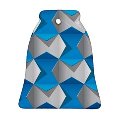 Blue White Grey Chevron Bell Ornament (two Sides) by Mariart