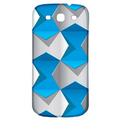Blue White Grey Chevron Samsung Galaxy S3 S Iii Classic Hardshell Back Case by Mariart