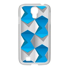 Blue White Grey Chevron Samsung Galaxy S4 I9500/ I9505 Case (white) by Mariart