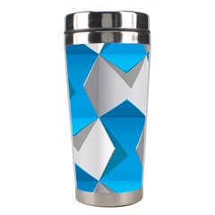 Blue White Grey Chevron Stainless Steel Travel Tumblers by Mariart