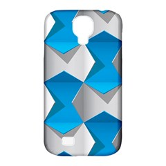 Blue White Grey Chevron Samsung Galaxy S4 Classic Hardshell Case (pc+silicone) by Mariart