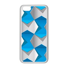 Blue White Grey Chevron Apple Iphone 5c Seamless Case (white) by Mariart