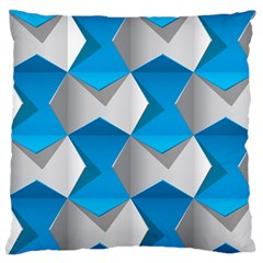 Blue White Grey Chevron Large Flano Cushion Case (One Side) by Mariart