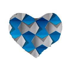 Blue White Grey Chevron Standard 16  Premium Flano Heart Shape Cushions by Mariart