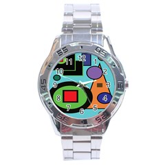 Basic Shape Circle Triangle Plaid Black Green Brown Blue Purple Stainless Steel Analogue Watch by Mariart