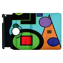 Basic Shape Circle Triangle Plaid Black Green Brown Blue Purple Apple Ipad 3/4 Flip 360 Case by Mariart