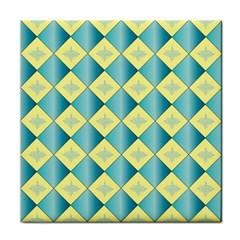 Yellow Blue Diamond Chevron Wave Tile Coasters by Mariart