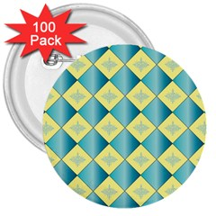 Yellow Blue Diamond Chevron Wave 3  Buttons (100 Pack)  by Mariart