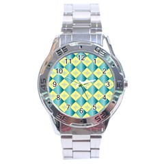 Yellow Blue Diamond Chevron Wave Stainless Steel Analogue Watch by Mariart