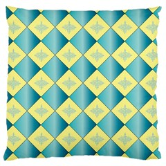 Yellow Blue Diamond Chevron Wave Large Cushion Case (one Side) by Mariart
