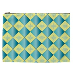 Yellow Blue Diamond Chevron Wave Cosmetic Bag (xxl)  by Mariart