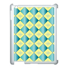 Yellow Blue Diamond Chevron Wave Apple Ipad 3/4 Case (white) by Mariart