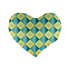 Yellow Blue Diamond Chevron Wave Standard 16  Premium Heart Shape Cushions by Mariart