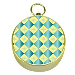 Yellow Blue Diamond Chevron Wave Gold Compasses by Mariart
