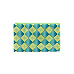 Yellow Blue Diamond Chevron Wave Cosmetic Bag (xs) by Mariart