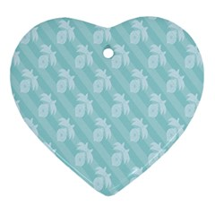 Christmas Day Ribbon Blue Ornament (heart) by Mariart