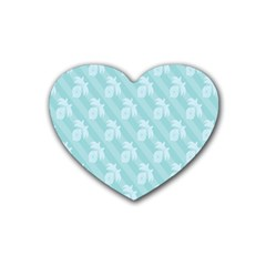 Christmas Day Ribbon Blue Rubber Coaster (heart)  by Mariart