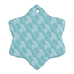 Christmas Day Ribbon Blue Snowflake Ornament (two Sides) by Mariart