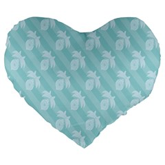 Christmas Day Ribbon Blue Large 19  Premium Heart Shape Cushions by Mariart