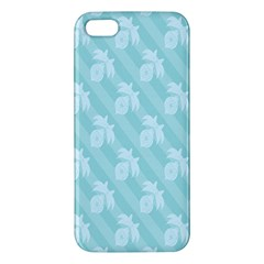 Christmas Day Ribbon Blue Apple Iphone 5 Premium Hardshell Case by Mariart