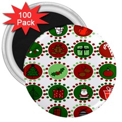 Christmas 3  Magnets (100 Pack) by Mariart