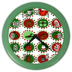 Christmas Color Wall Clocks by Mariart