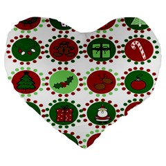 Christmas Large 19  Premium Flano Heart Shape Cushions by Mariart