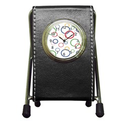 Circle Round Green Blue Red Pink Yellow Pen Holder Desk Clocks by Mariart